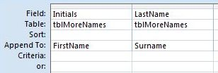 Microsoft access tips append queries automatically for Table design grid access