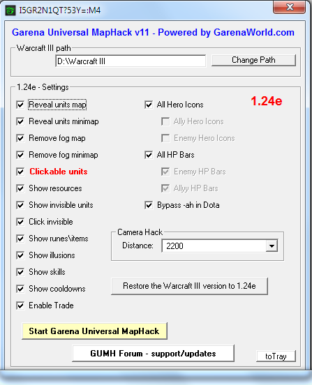Garena Universal MapHack 11 - GUMH 11 with support for Blizzard 1.24e Patch