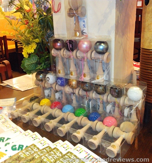 colorful kendama (Japanese wooden toy) for sale at go-en Ramen