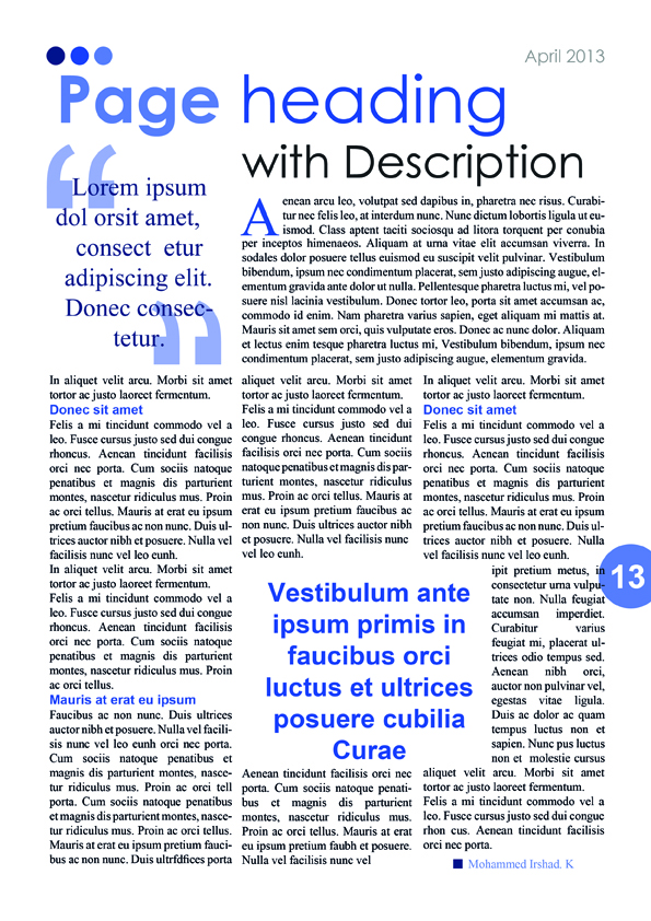 Blue Magazine/Newsletter Content Page