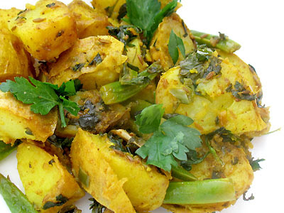 Indian-Style Potato and Green Bean Chaat Salad