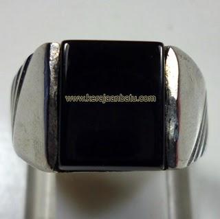 Cincin batu black onyx asli, berkualitas, onik murah, batu onyx hitam