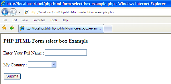Examples Php Html Form Select Box Example