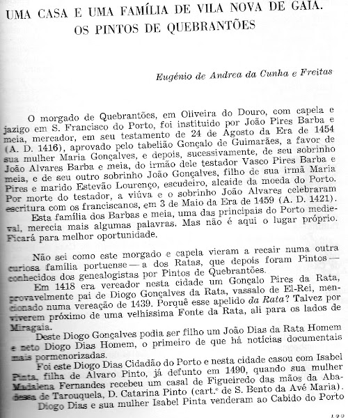 Artigo sobre os Pintos morgados da Quinta de Quebrantões (Vila Nova de Gaia)