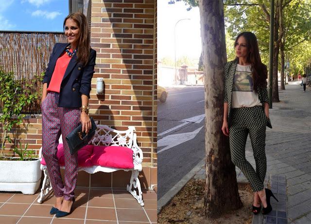 Looks de Paula Echevarría y Eva González con pantalón pijama, blazer y tacones.
