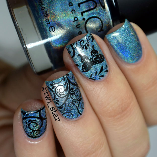 Bundle Monster Holographic Polish Blue Me Away swatch Secret Garden Plate BM718