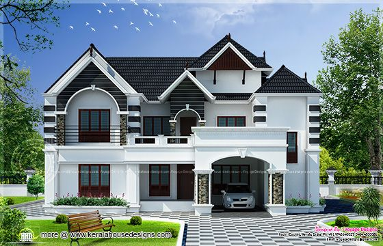 4 bedroom colonial style house kerala home design and for Colonial style homes in kerala