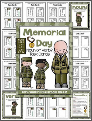 Fern Smith's Classroom Ideas Memorial Day Themed Task Cards for Noun or Verb? for Common Core!