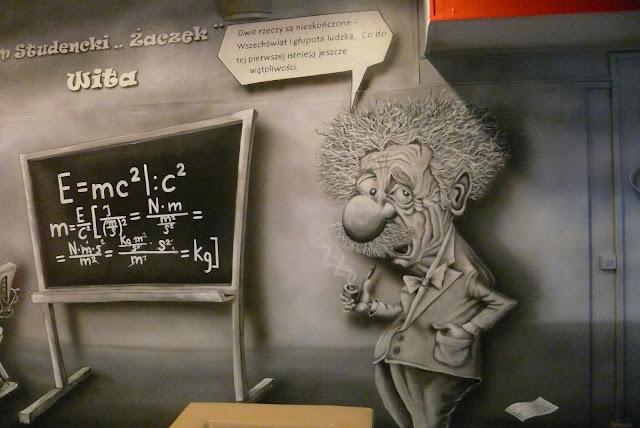 Karykatura Alberta Einsteina wykonana na ścianie Mural Znajduje się na Politechnice Warszawskiej
