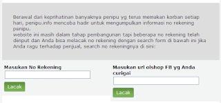 kolom Ceking Penipu untuk melacak penipu online