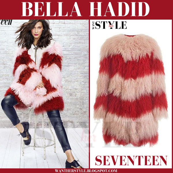Bella Hadid in red striped chevron fur coat seventeen november 2015 issue