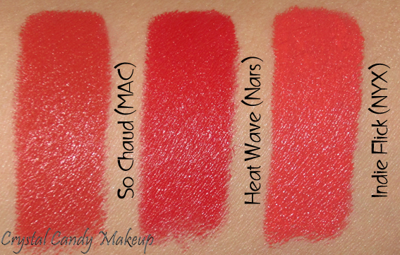 Rouge à lèvres Heat Wave de Nars - Lipstick - Review - Swatch - MAC So Chaud - NYX Indie Flick
