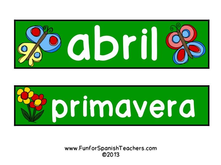 April Calendar In Spanish : Freebie for your april calendar spanish fun