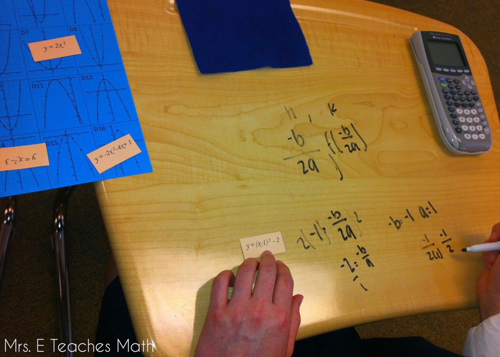 Quadratics and Writing on the Desks!  graphing quadratics  |  mrseteachesmath.blogspot.com