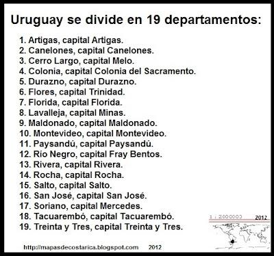 Lista de las nombres de los departamentos de URUGUAY