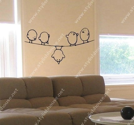 Stylish birds wall stickers for living room walls