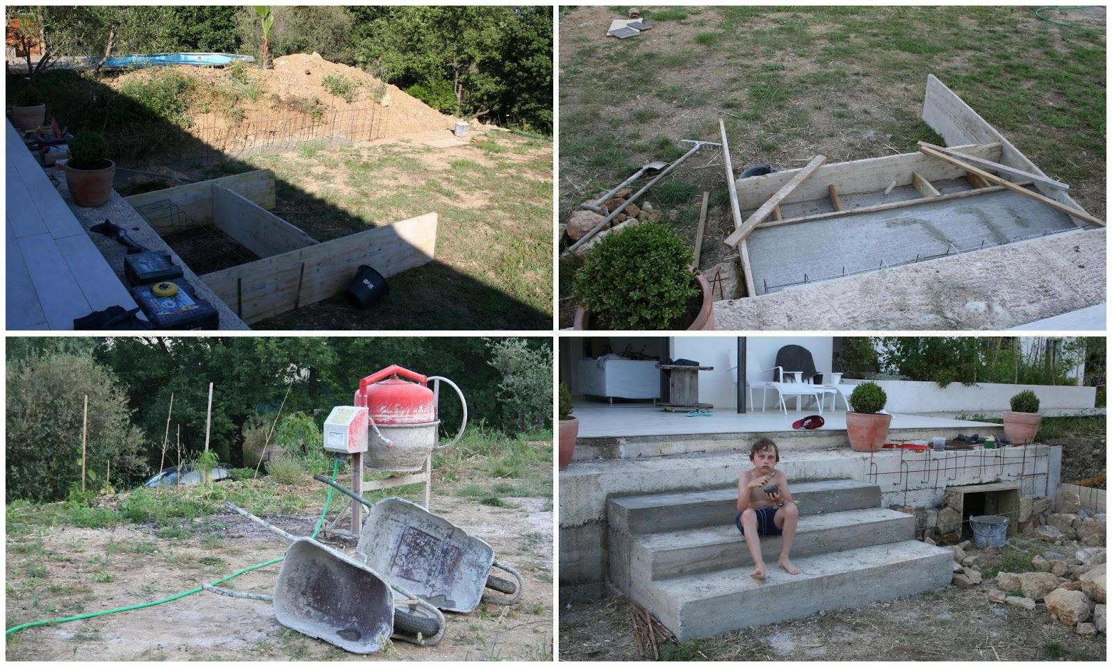 Blanche & Bricole: Un nouvel escalier en béton et les fondations d ...