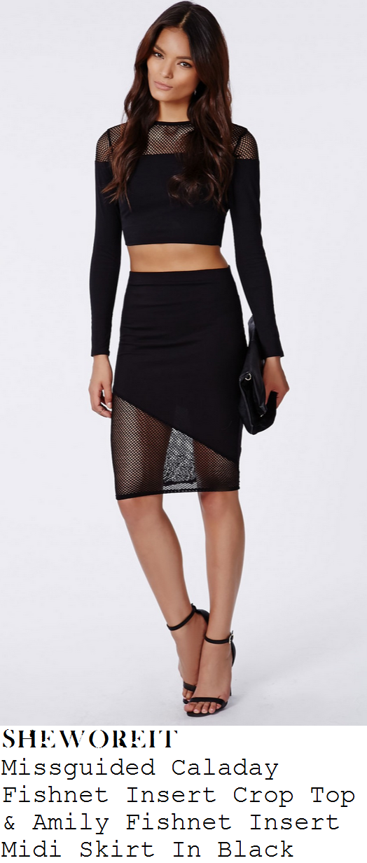 georgia-may-foote-black-long-sleeve-fishnet-panel-crop-top-and-high-waisted-midi-skirt-co-ords