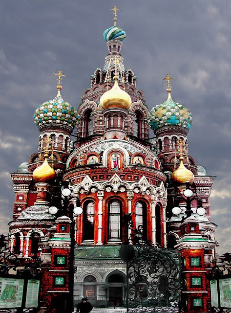 The Church of the Savior on Spilled Blood is one of the main sights of St. Petersburg, Russia. It is also variously called the Church on Spilt Blood and the Cathedral of the Resurrection of Christ, its official name.  This Church was built on the site where Tsar Alexander II was assassinated and was dedicated in his memory. It should not to be confused with the Church on Blood in Honour of All Saints Resplendent in the Russian Land, located in the city of Yekaterinburg where the former Emperor Nicholas II (1868–1918) and several members of his family and household were executed following the Bolshevik Revolution.