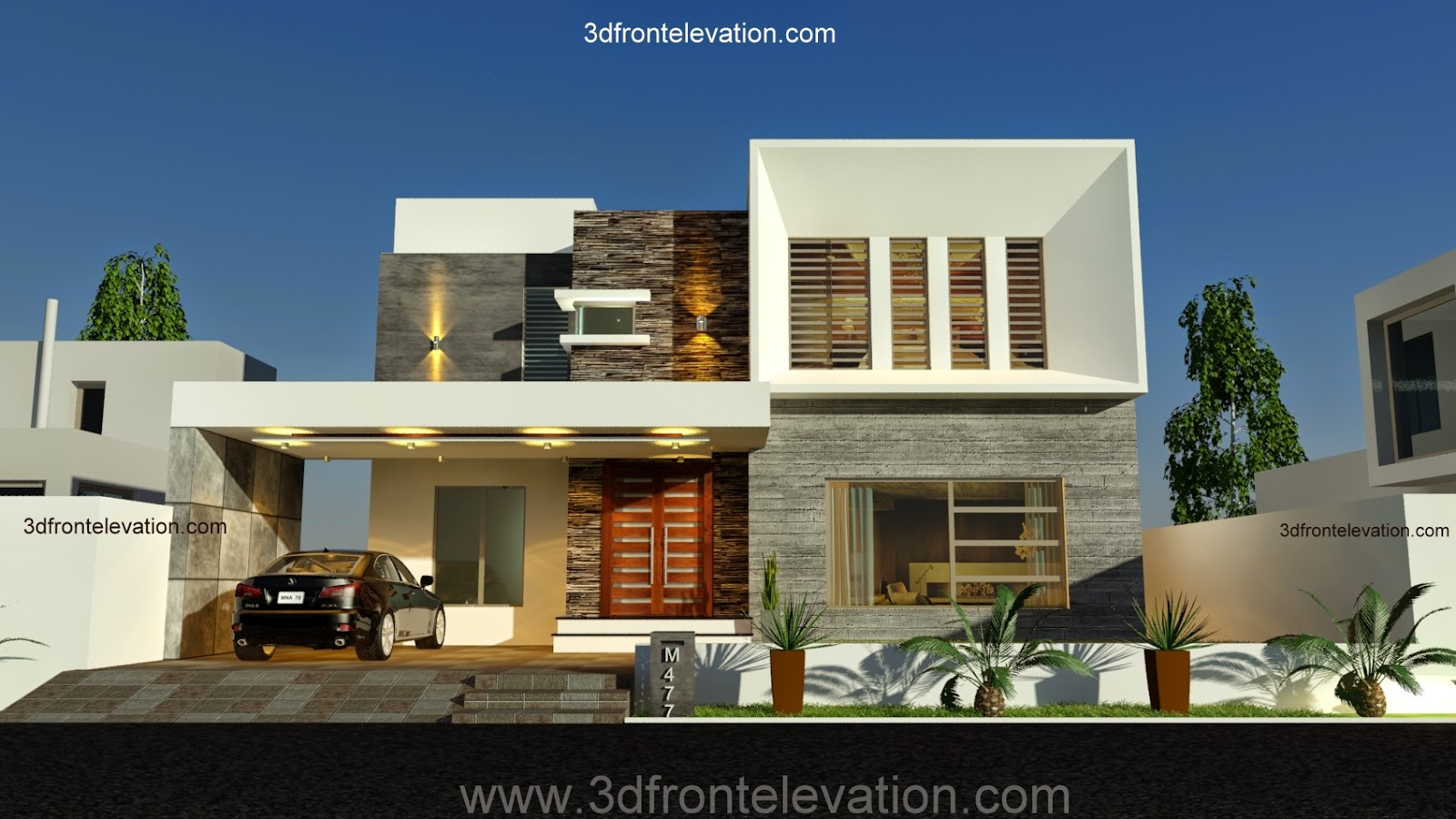 3d front new 1 kanal contemporary house for New home blueprints