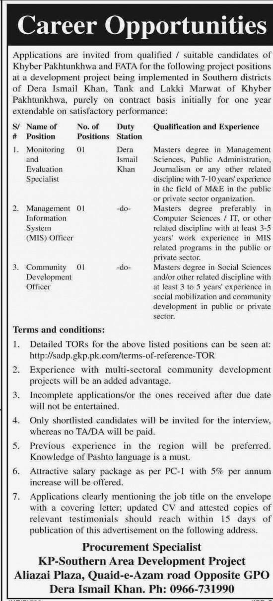 Jobs Available in KP Southern Area Development Project, Dera Ismail Khan