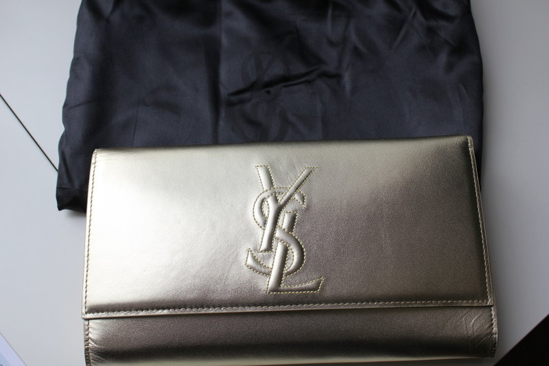 maja's replica gold ysl clutch