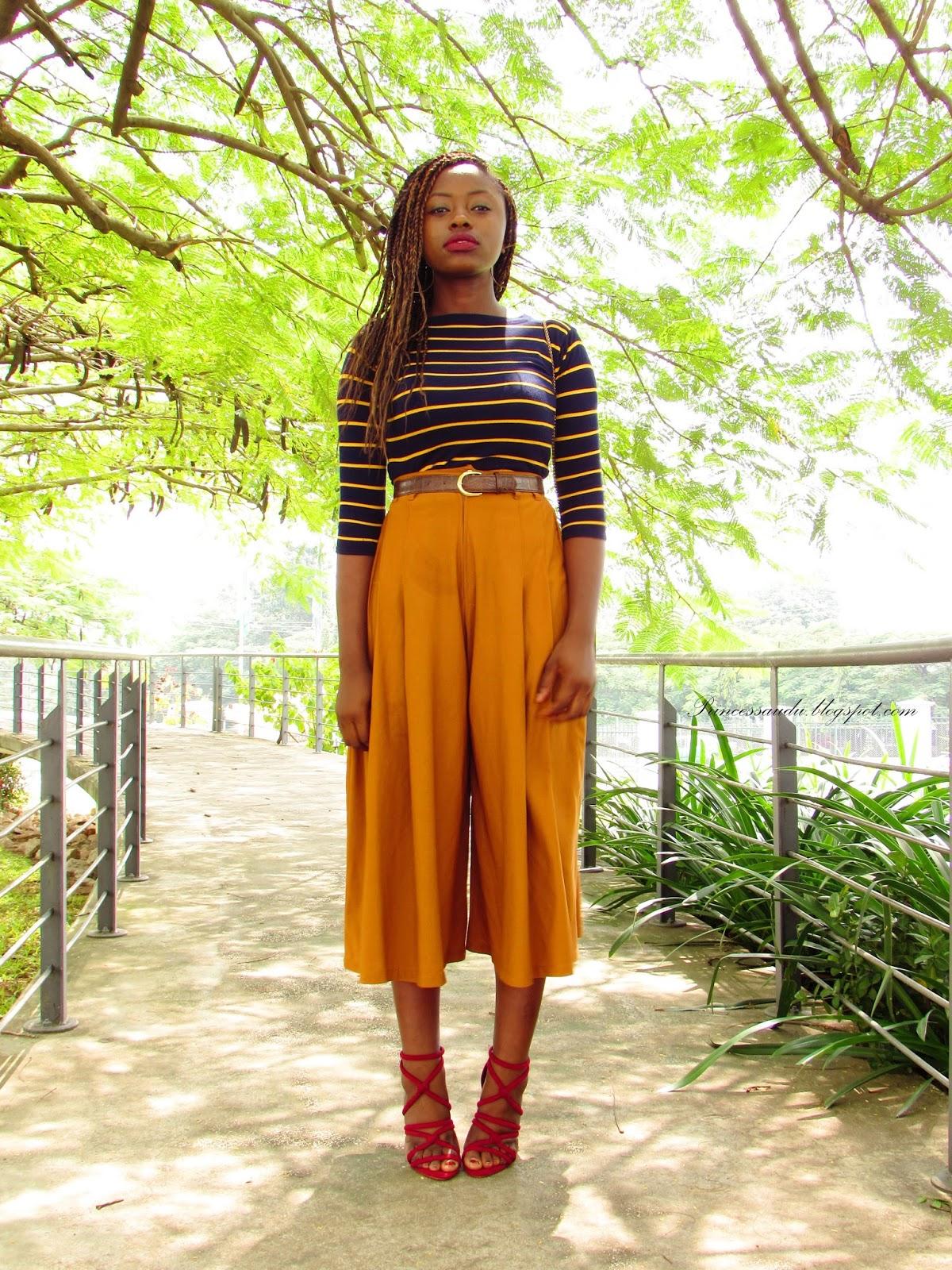 culottes trend, mustard, shorts, stripes, pop of colour, vintage