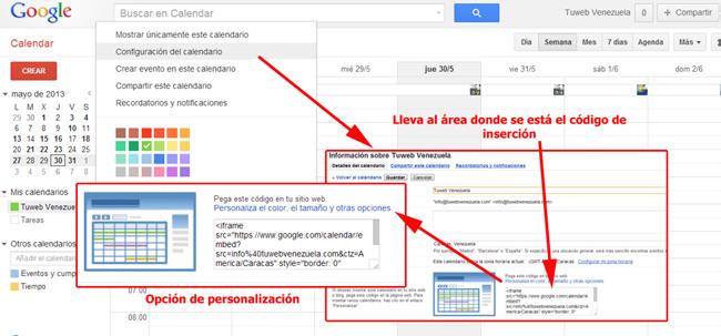 Código para insertar Google Calendar en una página web