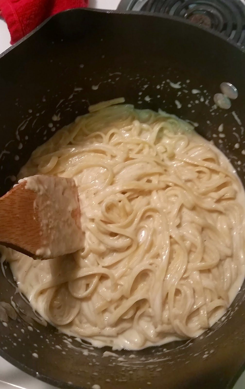 One Pot Fettuccine, 20 minutes and quick clean up.