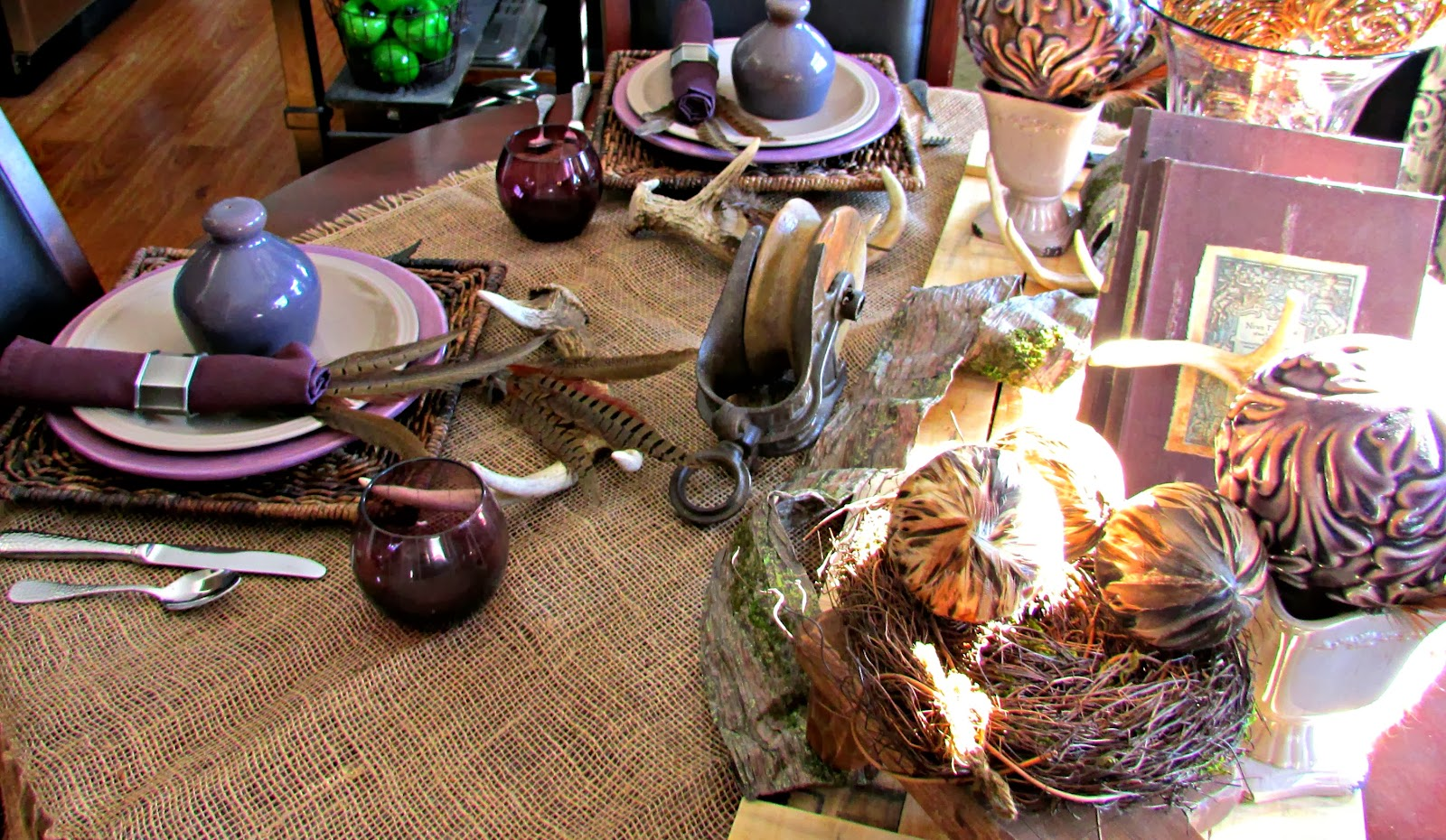 How to use Pallets, Antlers, Feathers and Milk Chocolate in a Tablescape