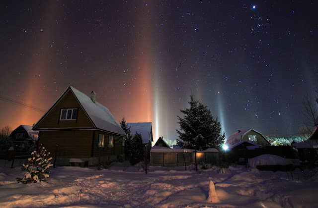 Light Pillars over Saint Petersburg