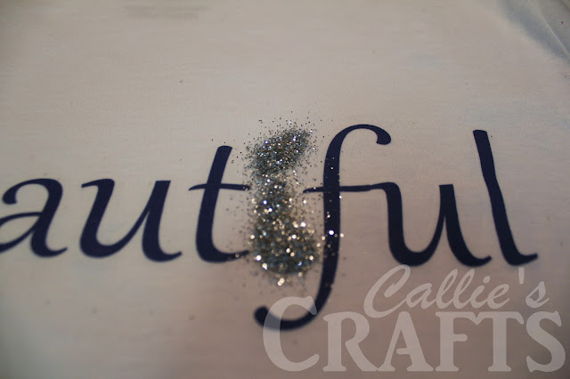 iron on transfer with mod podge and glitter