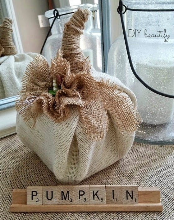 Make a pumpkin from burlap and florist foam! www.diybeautify.com