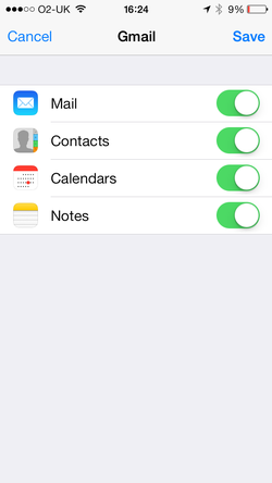 Compte Gmail dans l'iPhone