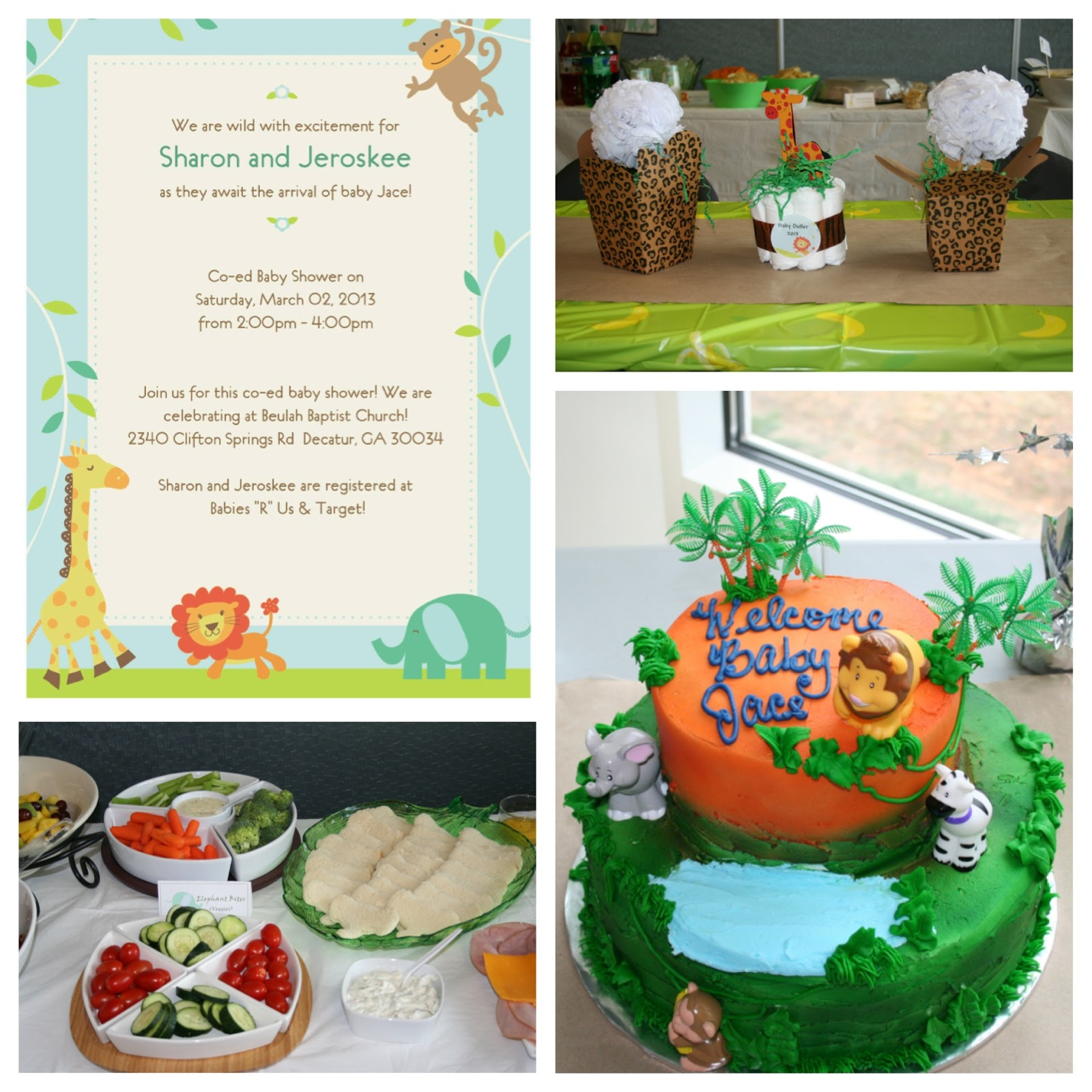 Cordier Events_jungle baby shower invite_decor_food_cake