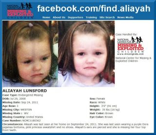 """Aliayah Lunsford, 3 YR OLD, MISSING IN WEST VIRGINIA/ Lunsford home declared a """"crime scene""""/ Mother of Aliayah Lunsford Indicted for Federal Fraud Charges/Reward of $20K Offered by the FBI/Mother released after serving eight months for welfare fraud - Page 6 315721_280833885279331_280457695316950_1054521_1377993380_n"""