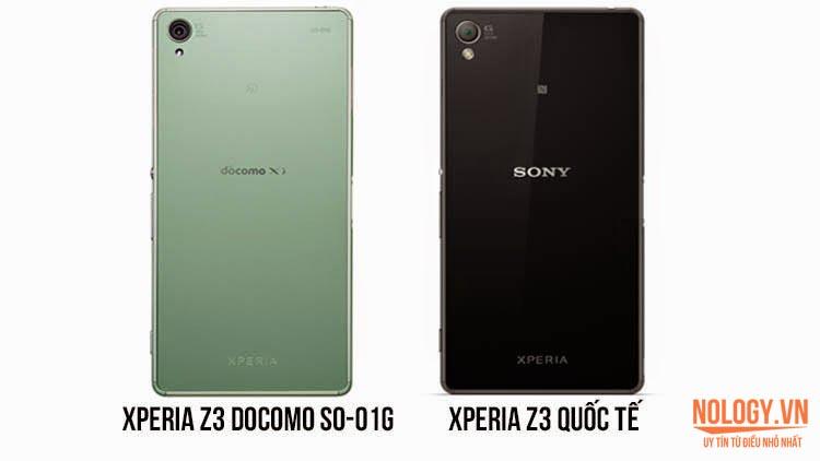 So sánh Sony Xperia Z3 Docomo và Sony Xperia Z3 chính hãng