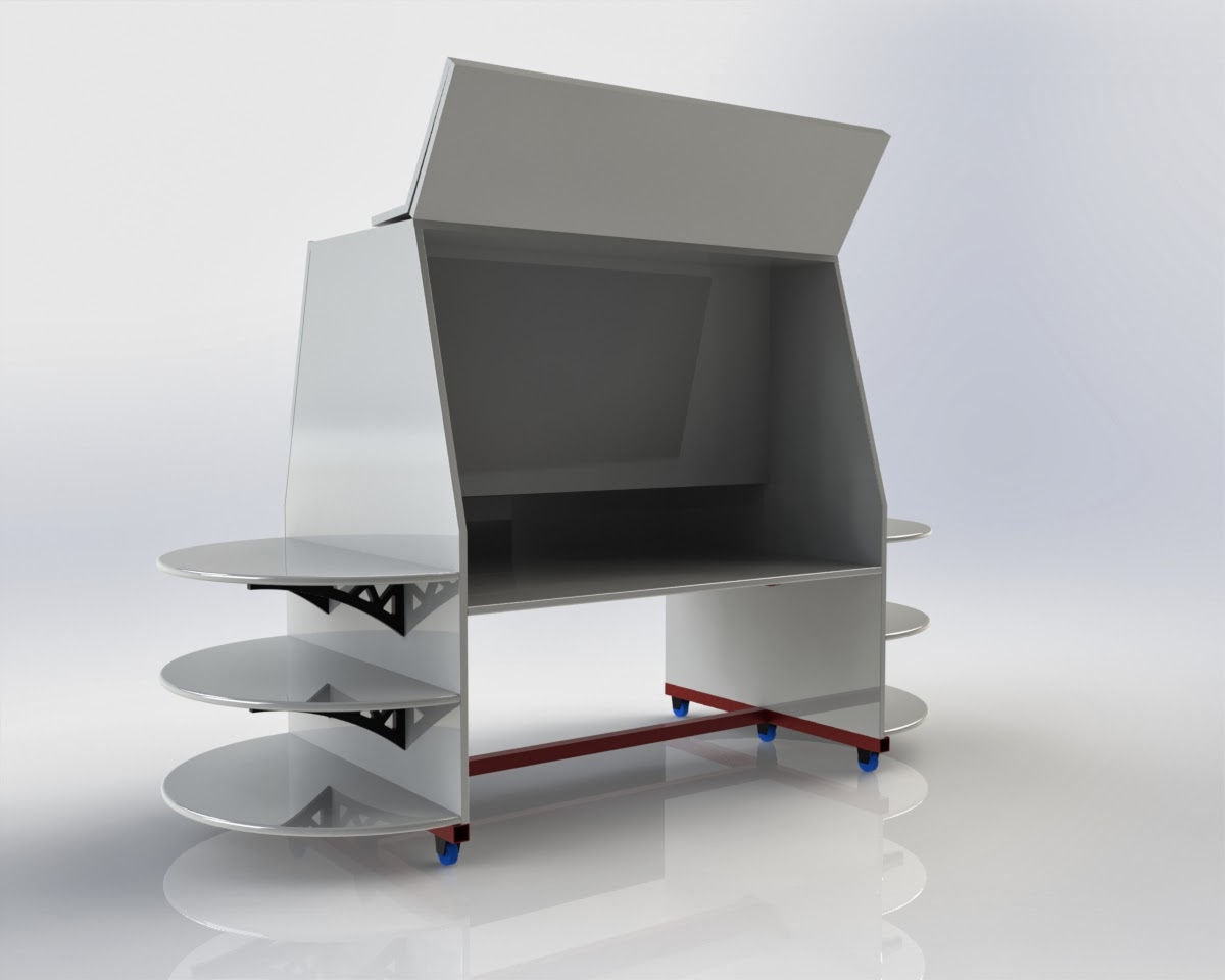 Image created in SolidWorks program shows display kiosk in white with side shelves, flipup door for storage and dolly in red.