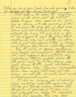 The first page of Doyle Brunson's handwritten blog post from 2/20/12