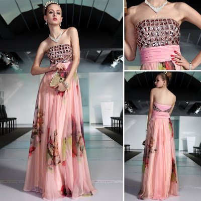 Print Strapless Floor Length Dress