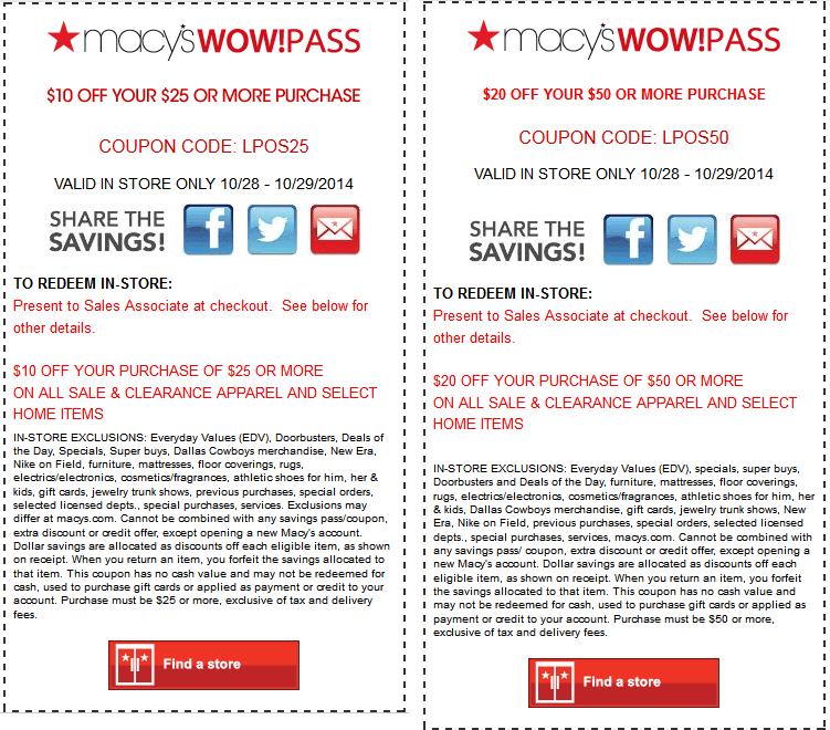 Macy discount coupon