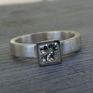 moissanite square ring