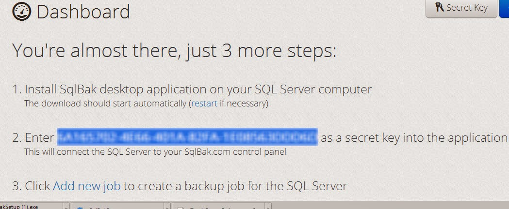 SQLBak-Registrationconfirmation