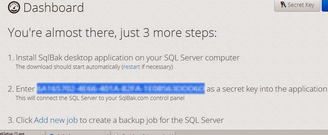 SQLBak-Registrationconfirmation