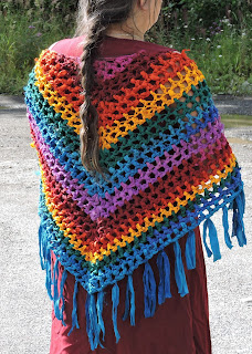 Rainbow shawl using Darn Good Yarn chiffon ribbon- crochet pattern