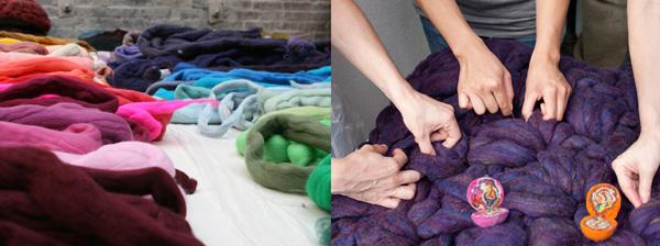 diseñadora Dana Barnes trabajando colores- wool design