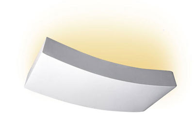 The UP300 Linear Curved Plaster Wall Light, modern uplighter for interior