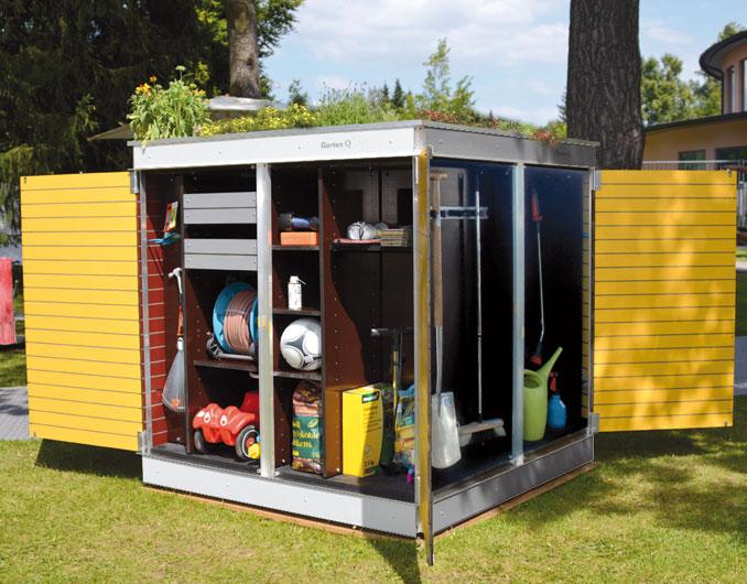 garten q moderne gartenh user gartenschr nke m llboxen und unterst nde das moderne. Black Bedroom Furniture Sets. Home Design Ideas