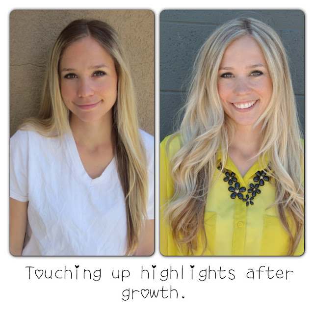 Tutorial for touching up highlights at home, includes links to the exact products she uses.