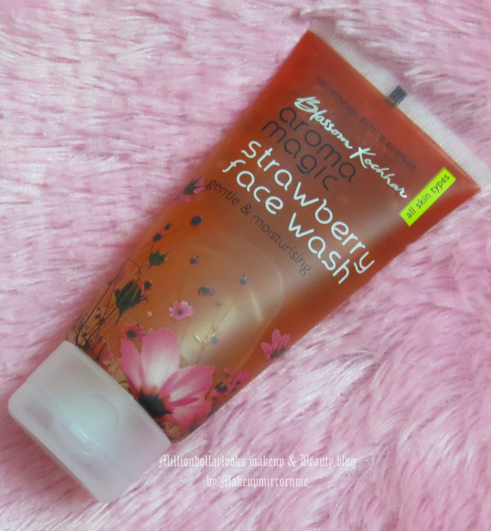 Blossom Kochhar Aroma Magic Strawberry Face wash review and pictures, Blossom kocchar aroma magis products review, Best mild face wash for dry skin, Indian cosmetics brand, paraben free skincare products, Indian beauty blog, Beauty blogger India, Indian makeup and beauty blog, Aroma magic skincare range review, Mkaeup and beauty blog, Milliondollarlooks makeup and beauty blog by makeupmirrornme, Facewash recommendation for dry and dry sensitive skin.